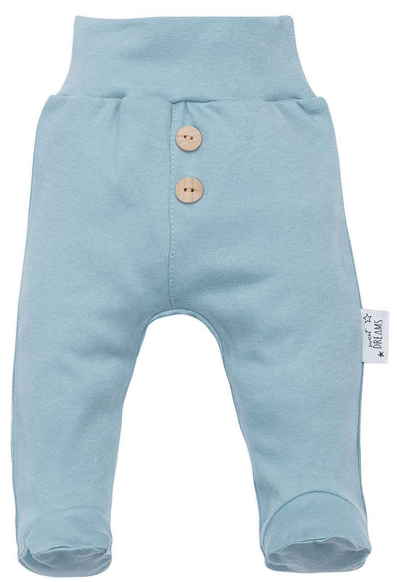 Makoma Schlupfhose »Baby Hose mit Fuß Strampelhose Sweathose für Neugeborene Jungen & Mädchen -Sweet Dreams-« (Set, 2-tlg., 2er-Pack) 100% Baumwolle