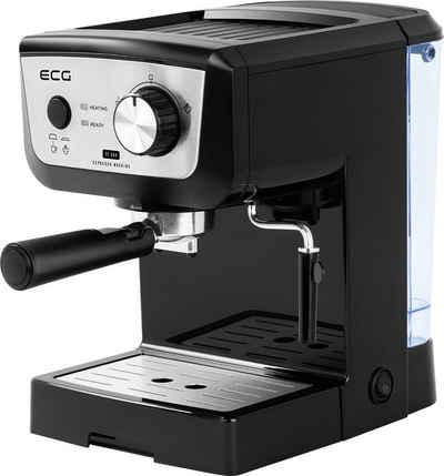 ECG Siebträgermaschine ESP 20101 Black, 1.25l Kaffeekanne, Edelstahlfilter, Rutschfeste Füße, Edelstahlfilter für 1 oder 2 Tassen, Rotierende Dampfdüse mit abnehmbarem Gummiteil