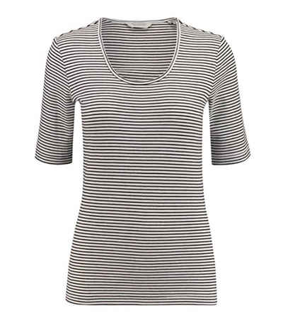 Scotch & Soda T-Shirt »SCOTCH & SODA Ringel-Shirt schlichtes Damen T-Shirt mit halblangen Ärmeln Freizeit-Shirt Weiß/Schwarz«