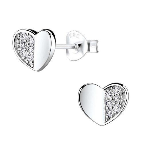 schmuck23 Paar Ohrstecker »Ohrringe Herz Liebe Zirkonia 925 Silber«, Silberschmuck Geschenk Sterling Silber, Damen Mädchen