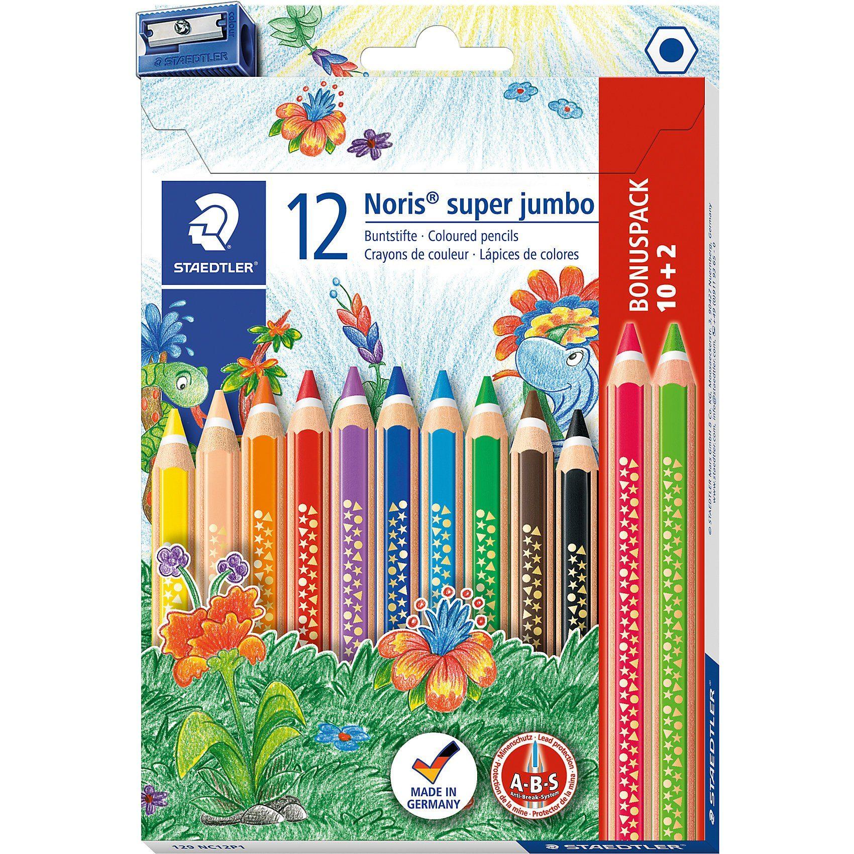 STAEDTLER Noris Club Super-Jumbo-Buntstifte, inkl. Anspitzer, 12 Farbe