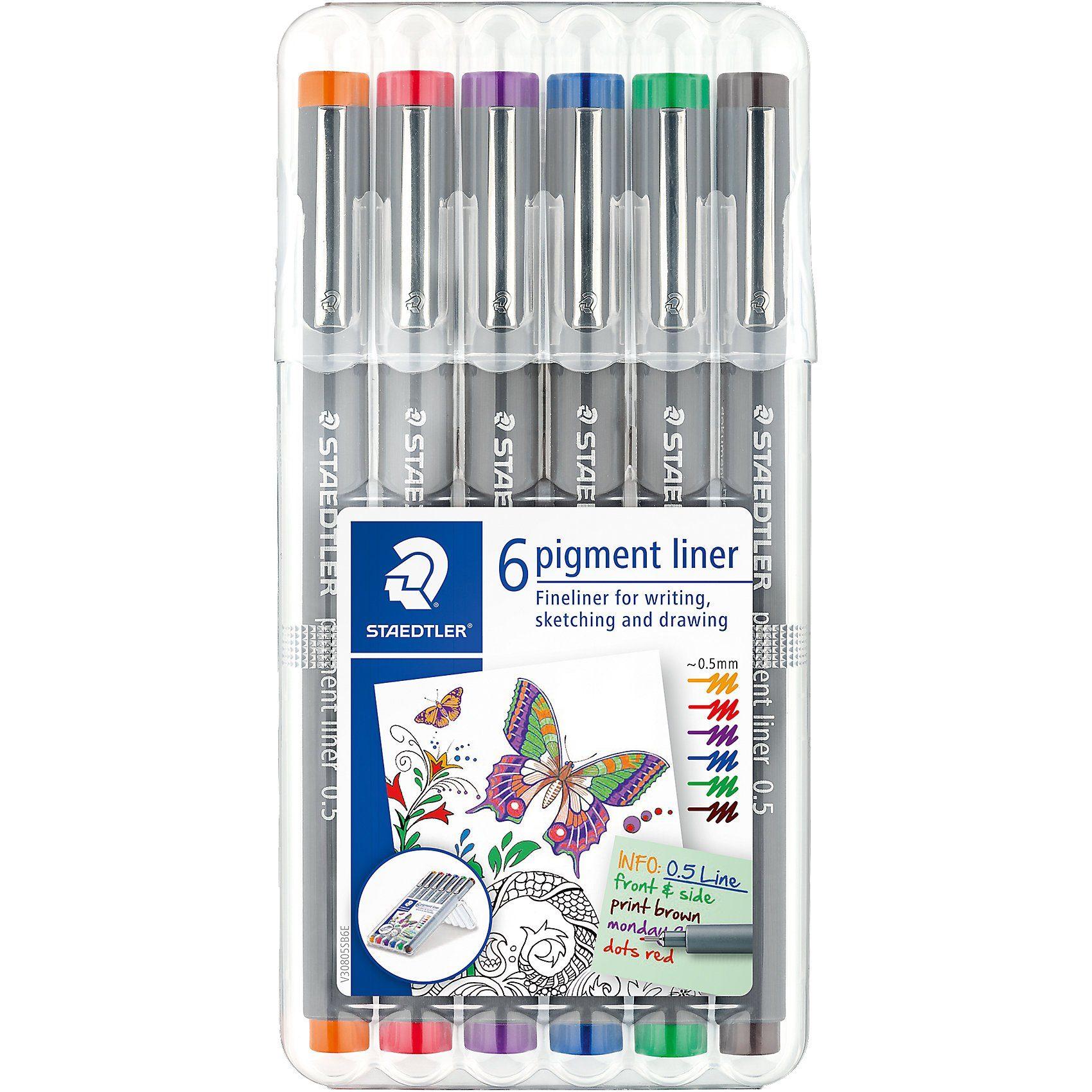 STAEDTLER Fineliner pigment liner Box 0,5 mm, 6 Farben