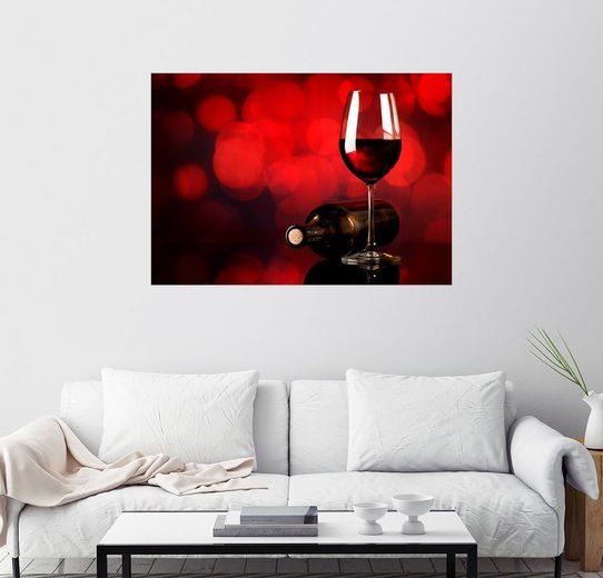 Posterlounge Wandbild »Rotwein im Weinglas und Flasche«