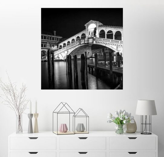 Posterlounge Wandbild - Melanie Viola »VENEDIG Rialtobrücke bei Nacht«