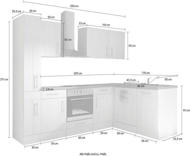 Einbauküchen - RESPEKTA Winkelküche »Ulm«, mit E Geräten, Stellbreite 250 x 172 cm  - Onlineshop OTTO