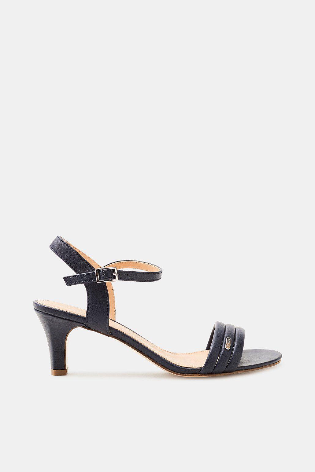 Esprit Sandalette in glatter Leder-Optik für Damen, Größe 39, Navy