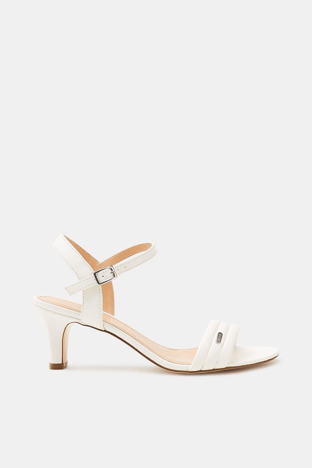 ESPRIT Sandalette mit Trichterabsatz, in Leder-Optik online kaufen  WHITE