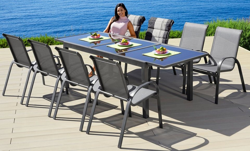 Gartenmöbelset »Amalfi«, 9 tlg., 8 Stapelsessel, Tisch 180 240 cm, Alu/Textil online kaufen   OTTO