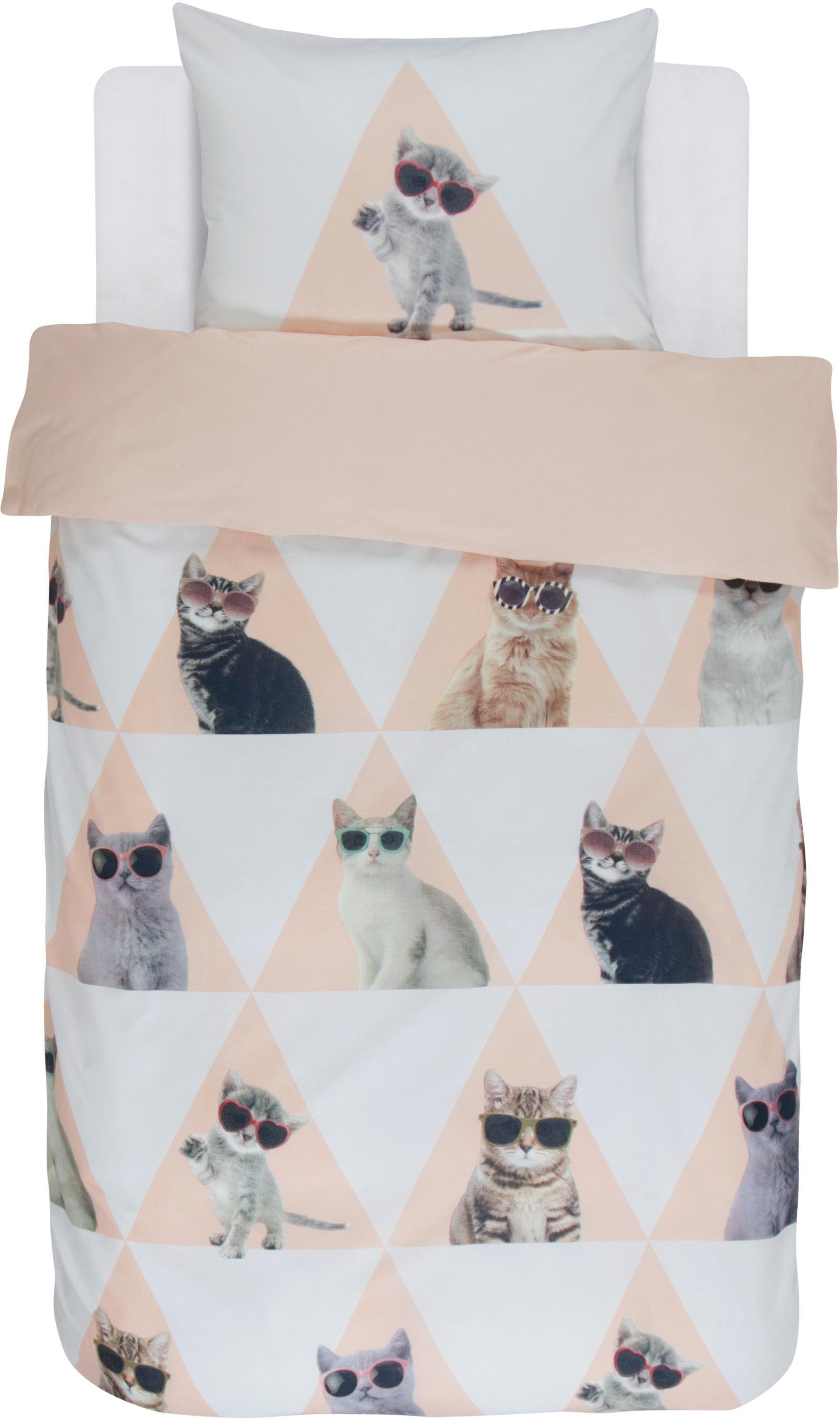Jugendbettwäsche »Cool cats«, Covers & Co, mit Katzen