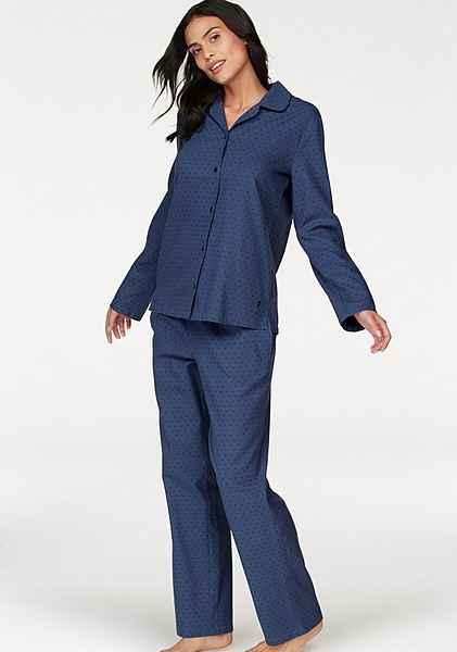 Pyjama pünktchenmuster Aus Mit Seidensticker Blau Flanell Allover XkuOPZi