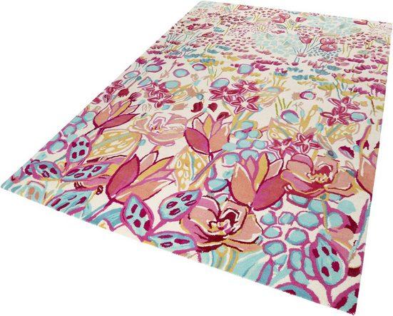 Wollteppich »Splash Bouquet«, Accessorize Home, rechteckig, Höhe 16 mm, reine Wolle, kräftige Farben, Wohnzimmer