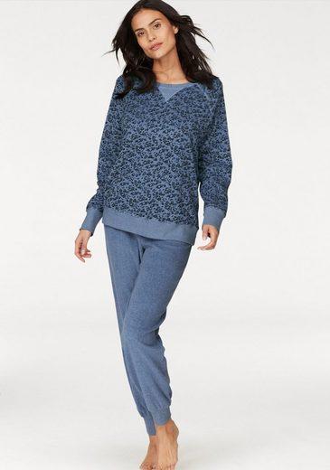 seidensticker Pyjama, aus Frottee mit bedrucktem Oberteil