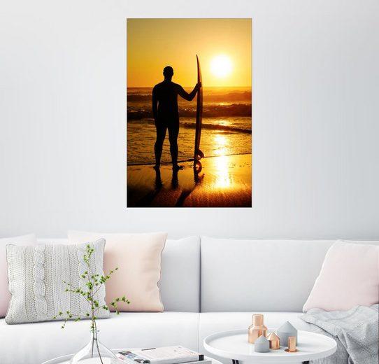 Posterlounge Wandbild »Wellenreiter im Abendlicht«