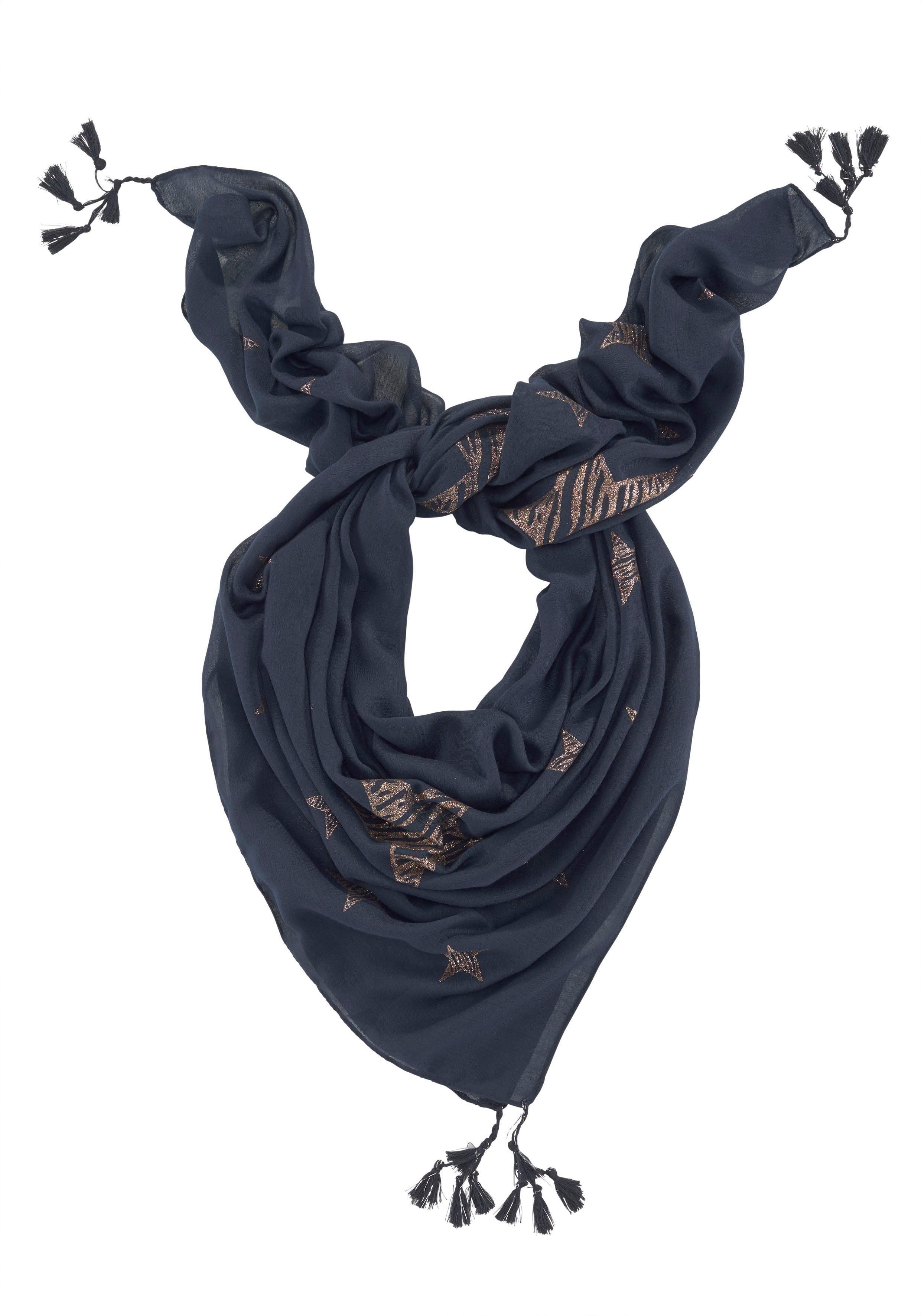 Colours Cosmetic Modetuch Leichtes XXL-Tuch mit Metallic Print, Troddlen und Sternen