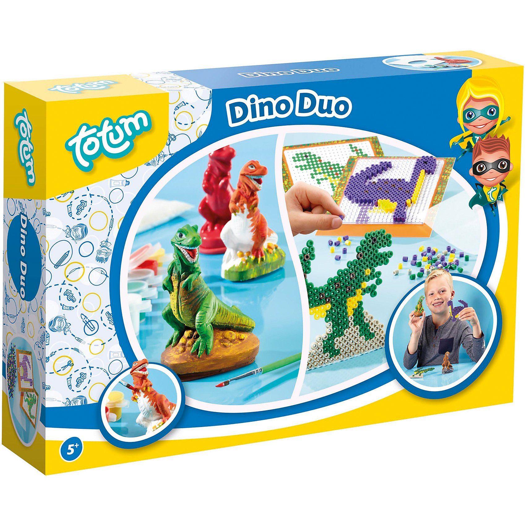 totum 2in1-Kreativset: Dino Bügelperlen & Gips giessen