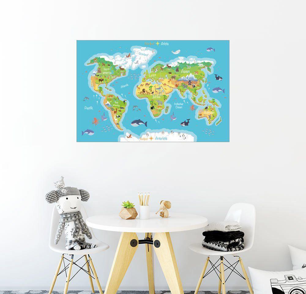 Posterlounge Wandbild - Kidz Collection »Weltkarte für Kinder - Deutsch«