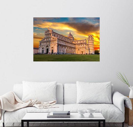 Posterlounge Wandbild »Pisa im Abendrot«