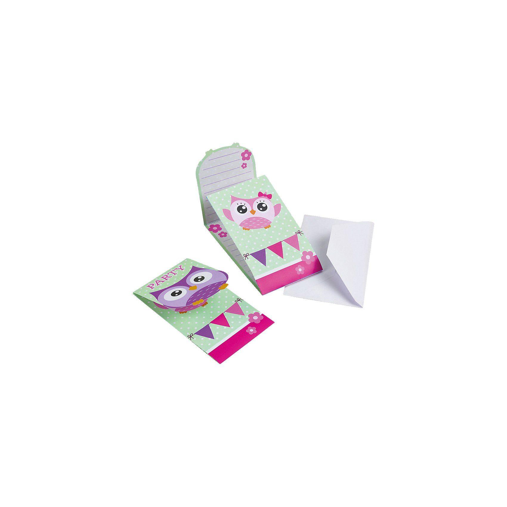 Amscan Einladungskarten Eule inkl. Umschlag, 8 Stück