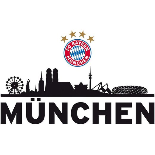 FC Bayern Wandsticker FCB Skyline mit Logo, 60 x 30 cm