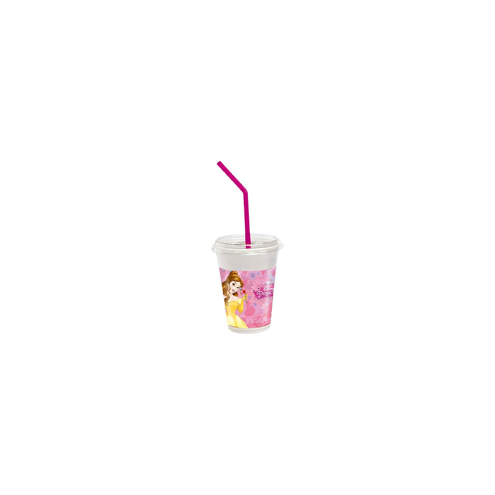 Procos Einwegbecher Kunststoff inkl. Deckel Disney Princess, 300 ml