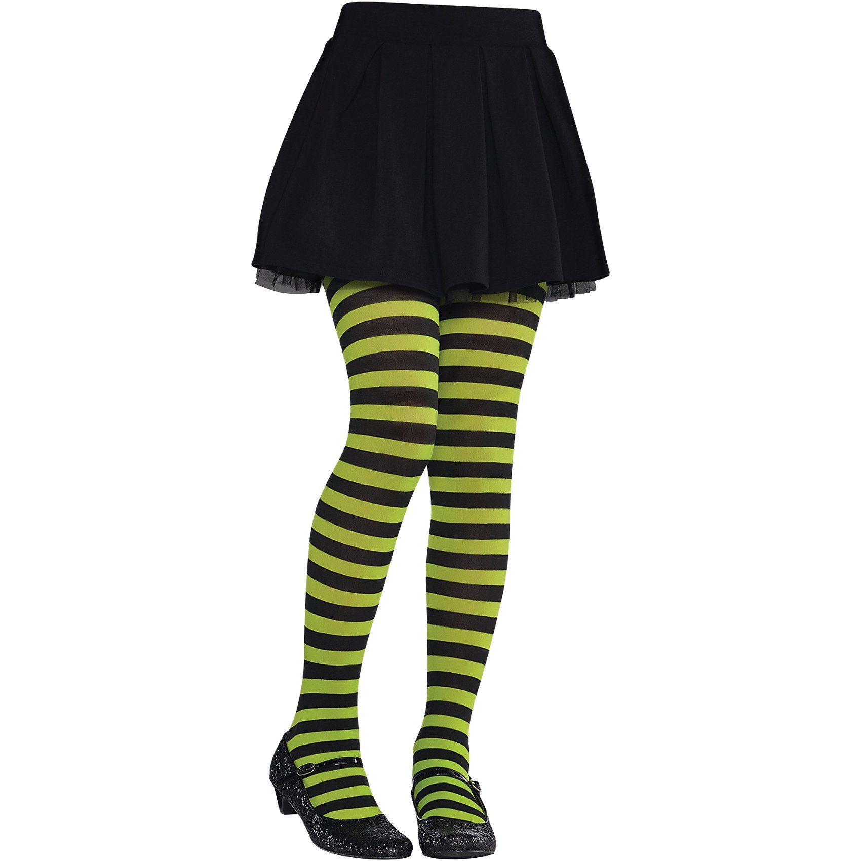 Amscan Kinder-Strumpfhose grün-schwarz-gestreift