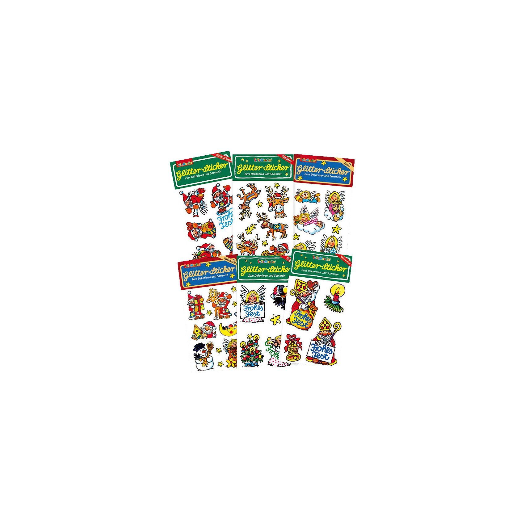Lutz Mauder Verlag Glitter-Sticker-Set Weihnachten, 6-tlg.