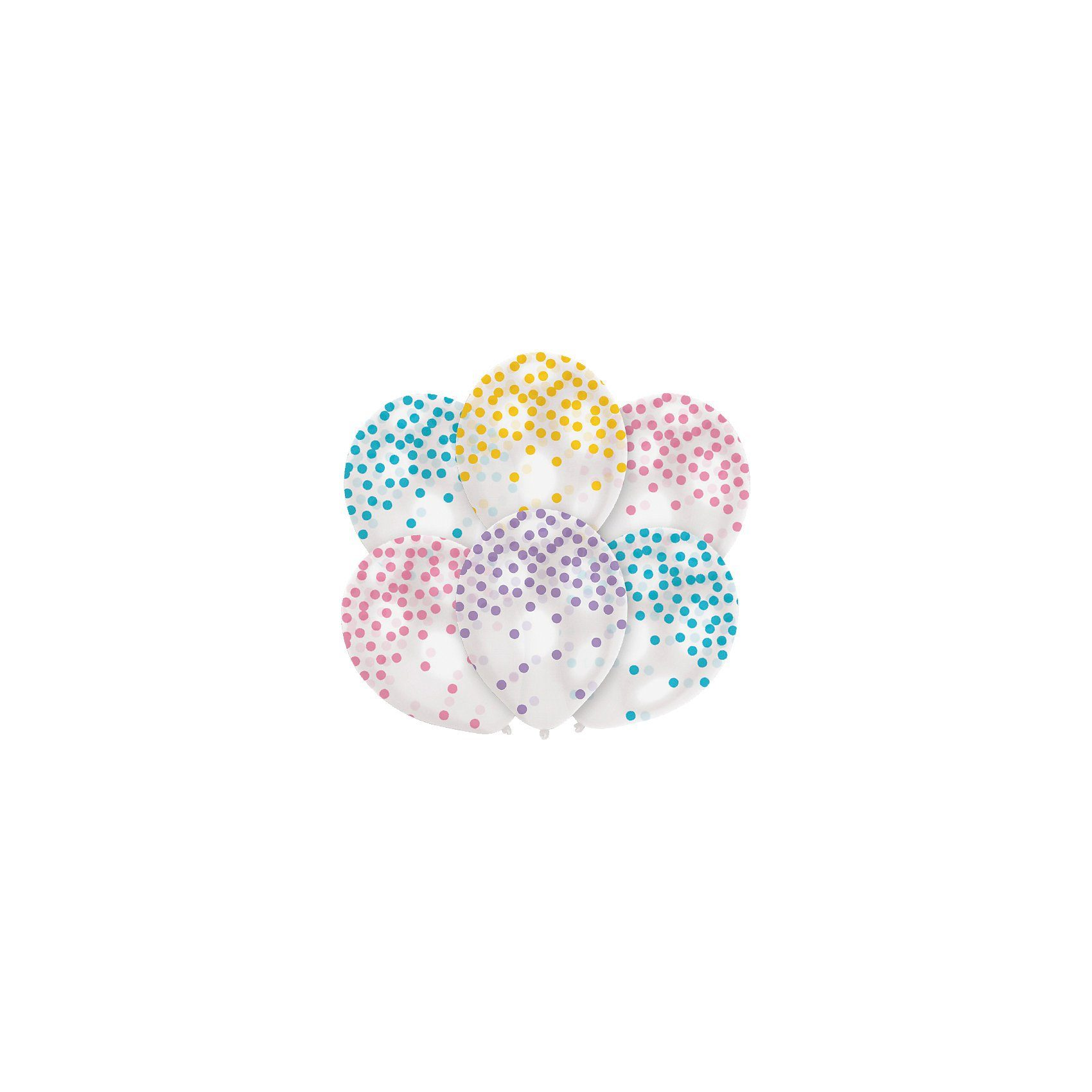 Amscan Luftballon Konfetti-Pastell, 6 Stück