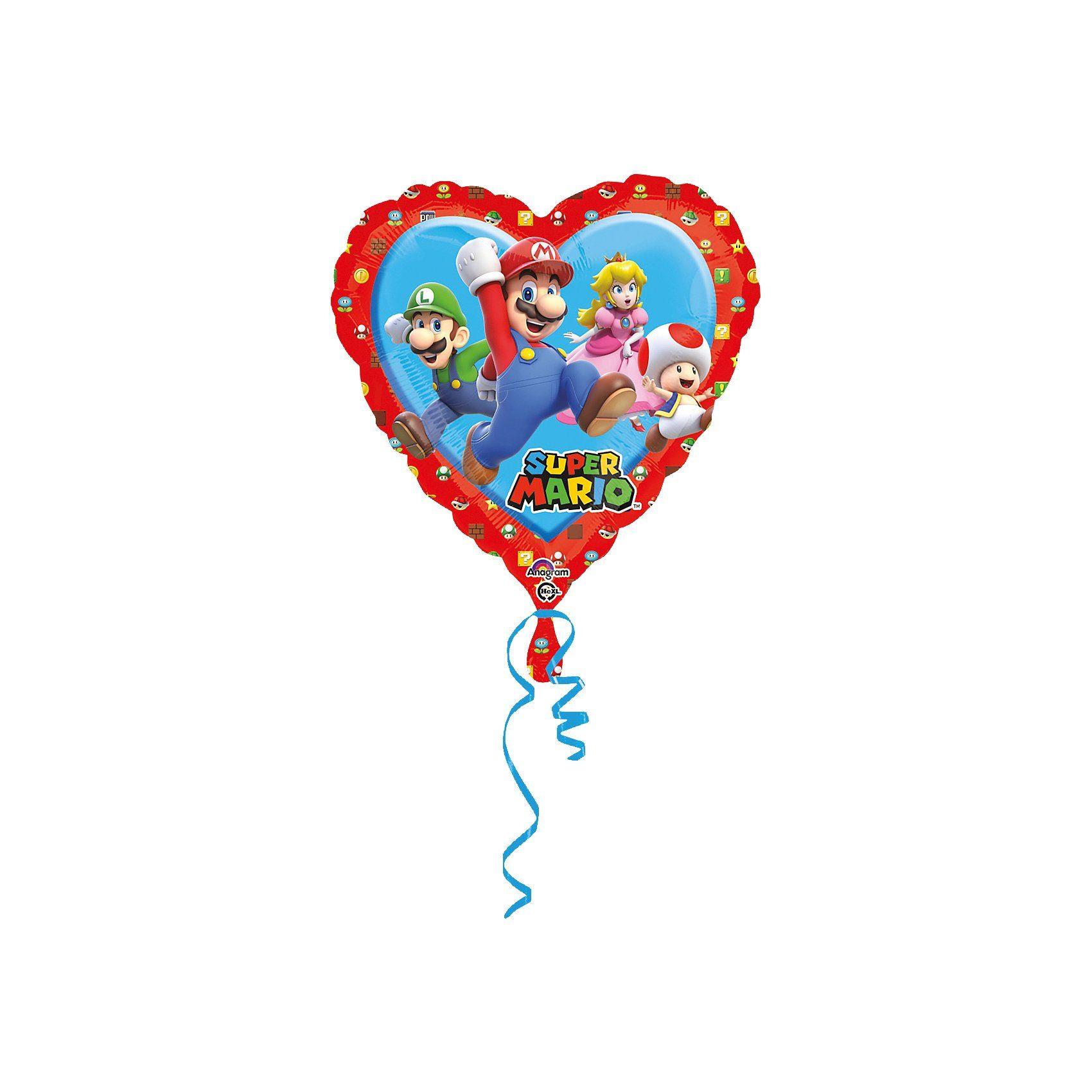 Amscan Folienballon Super Mario Herz