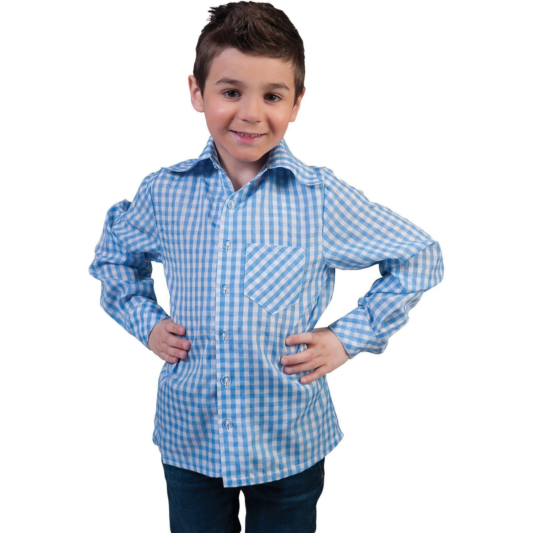 Funny Fashion Kostüm kariertes Hemd blau