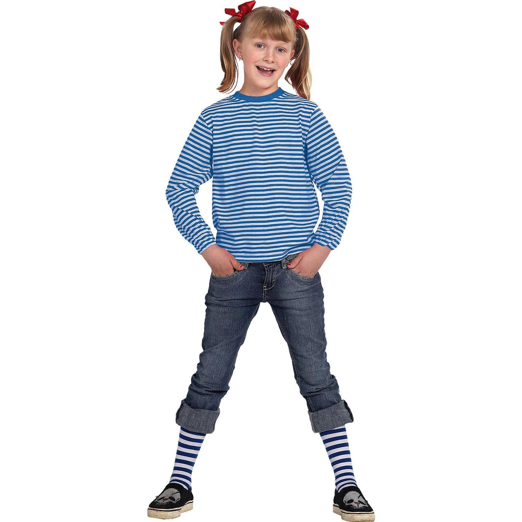 Rubie´s Kostüm Ringelshirt langarm garngefärbt blau/weiß