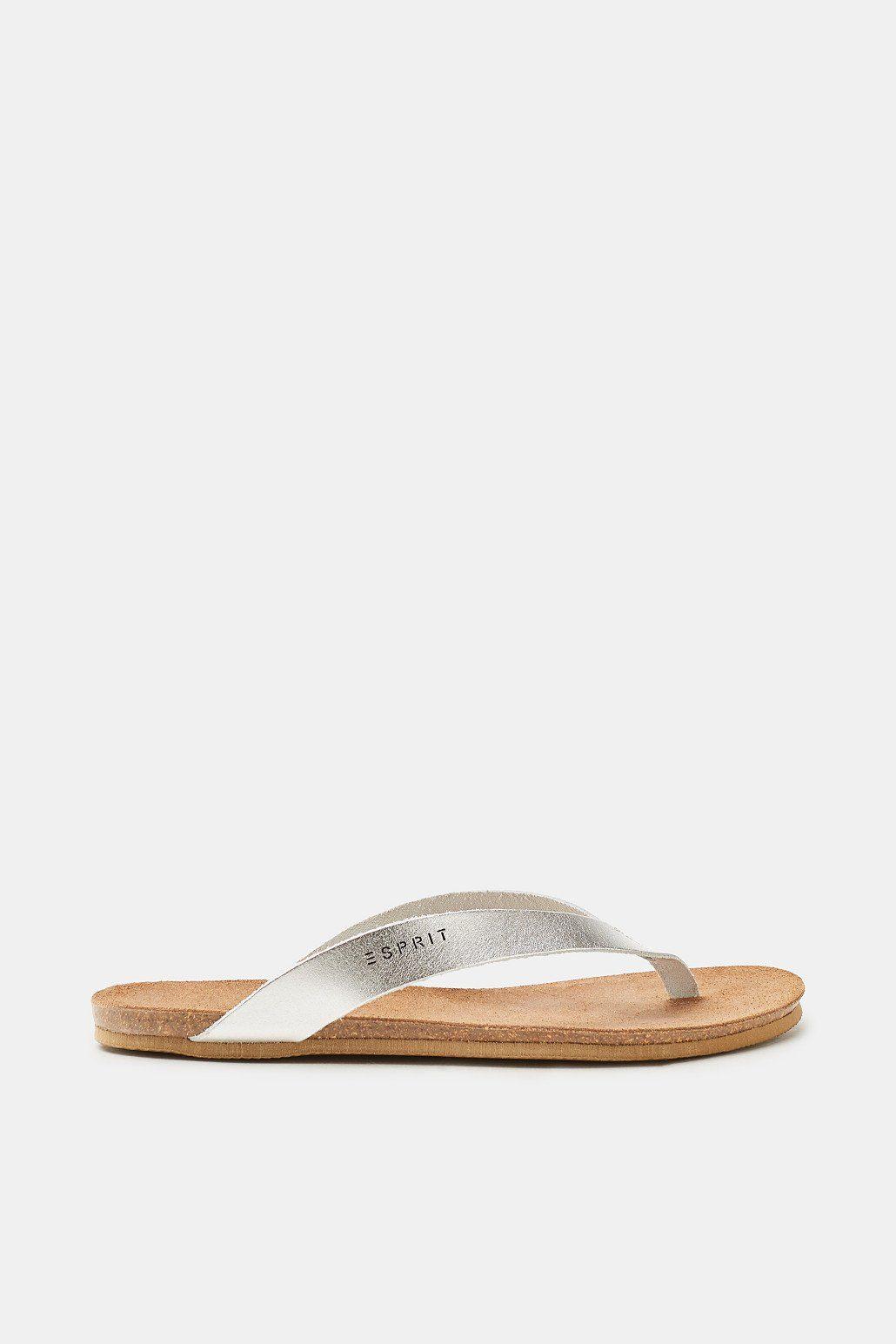 Esprit Leder-Zehentrenner mit angedeutetem Fußbett für Damen, Größe 36, White