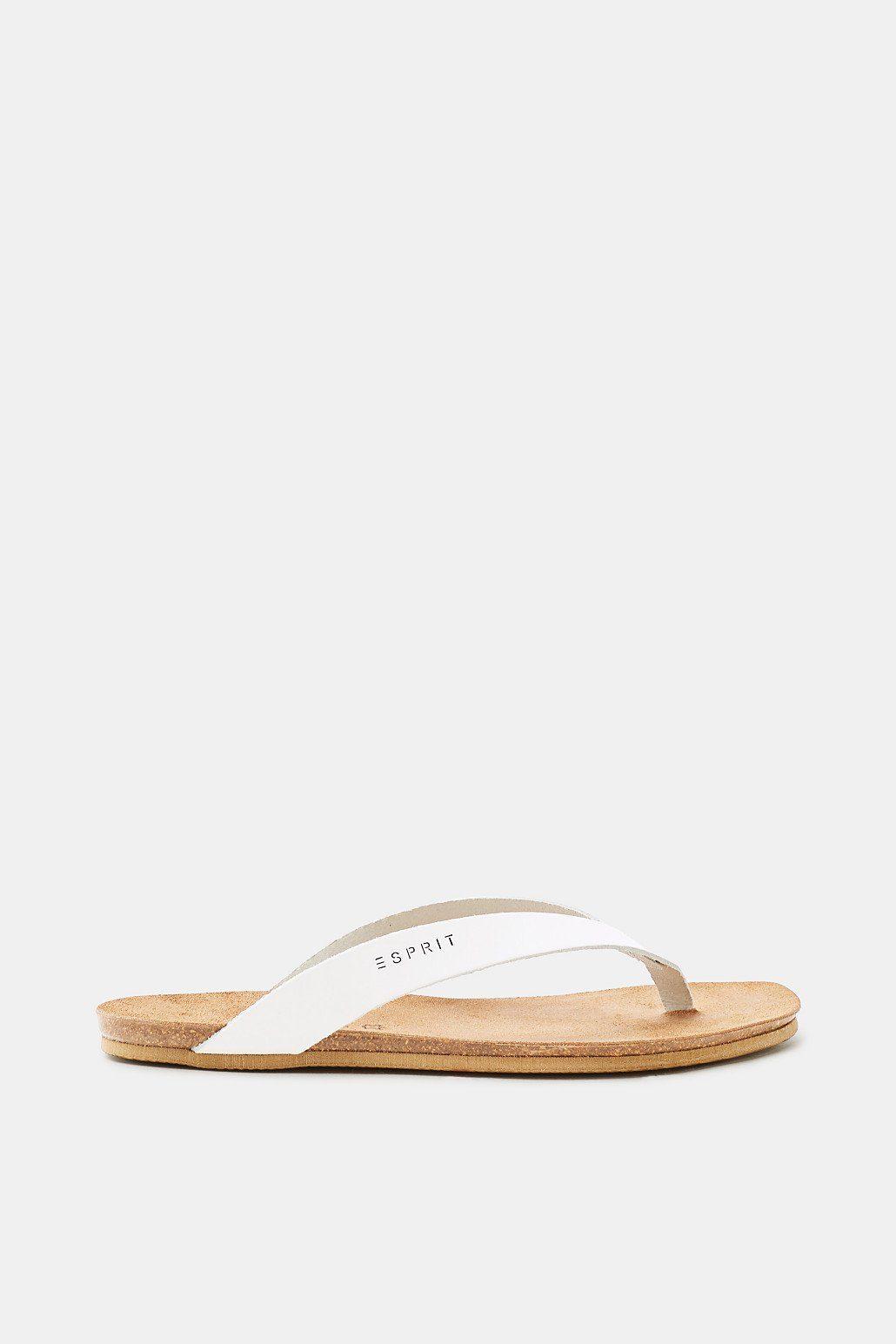 Esprit Leder-Zehentrenner mit angedeutetem Fußbett für Damen, Größe 36, Rust Brown