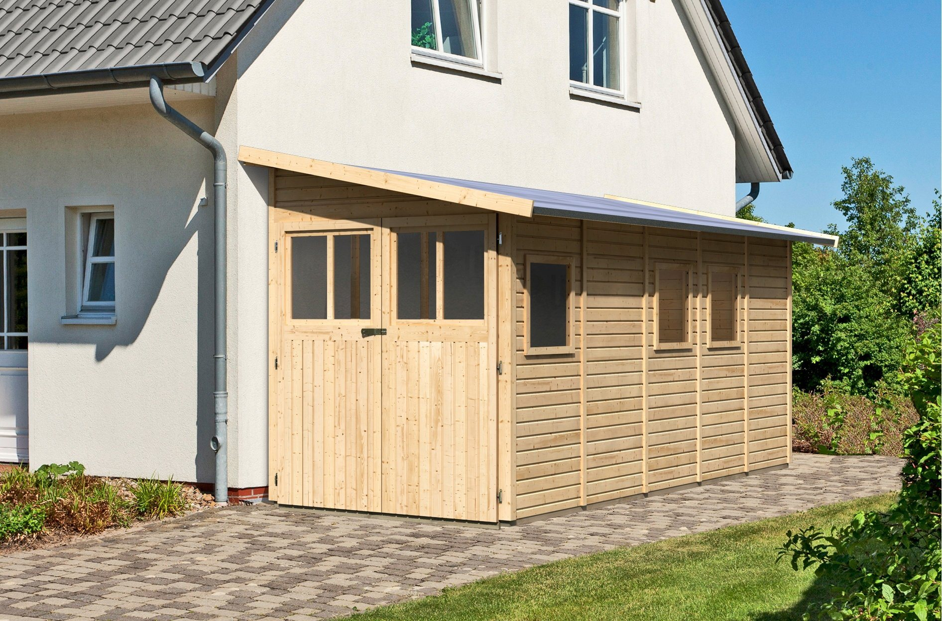 KARIBU Anlehngartenhaus »Wittenburg 5«, BxT: 200x469 cm | Garten > Gartenhäuser | Karibu