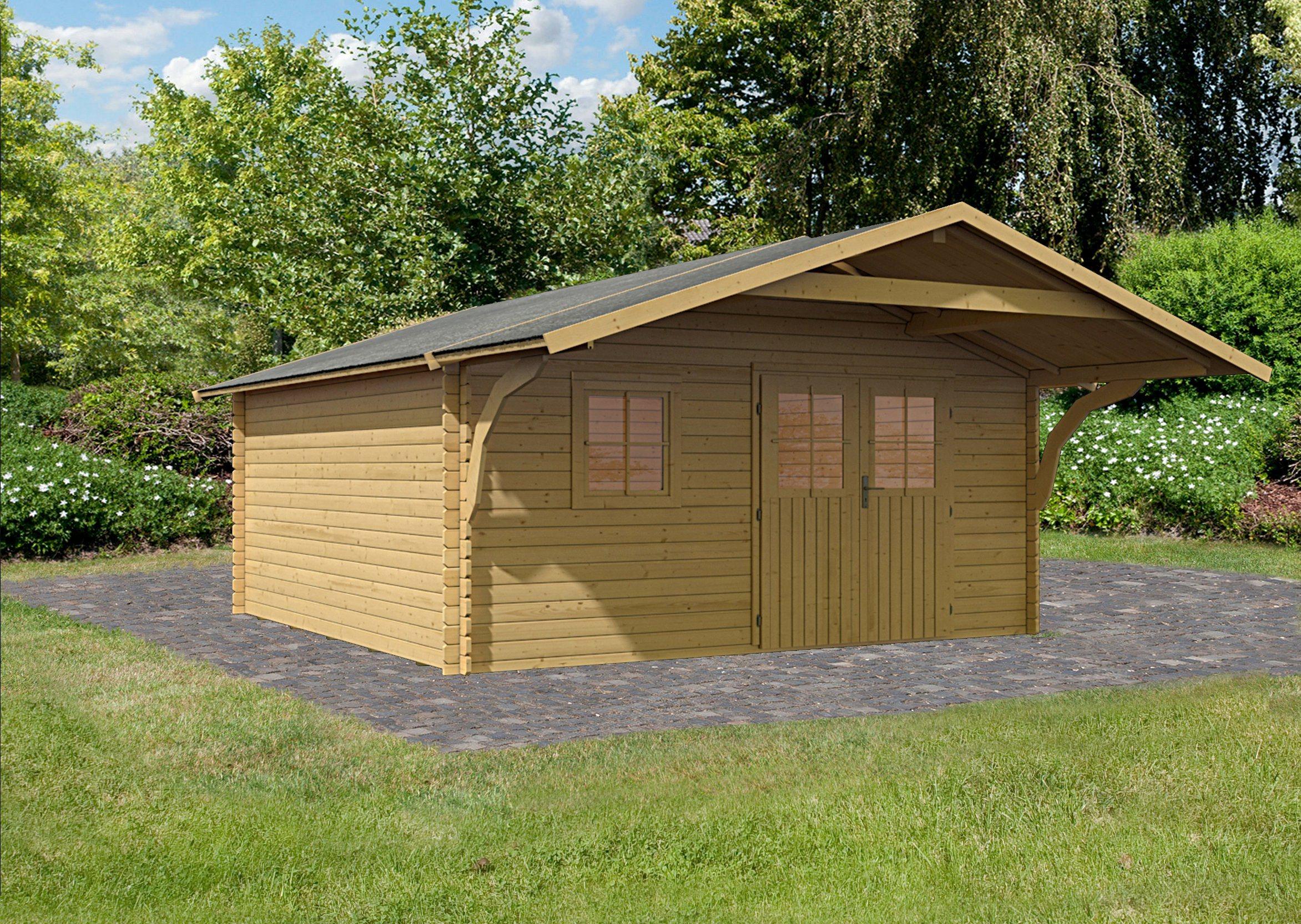 KARIBU Set: Gartenhaus »Traventhal 2«, BxT: 452x595 cm, mit Vordach | Garten > Gartenhäuser | Karibu