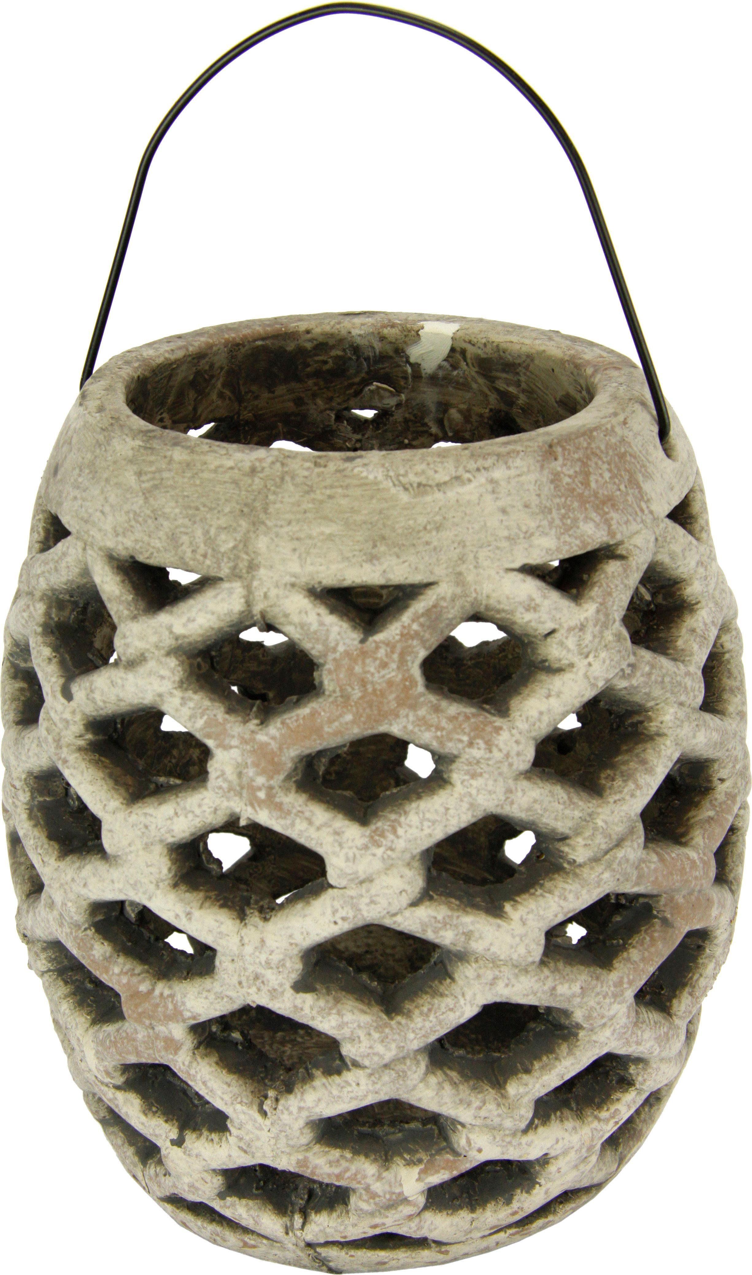 Home Affaire Keramik-Windlicht im rustikalen Design, Höhe 22 cm