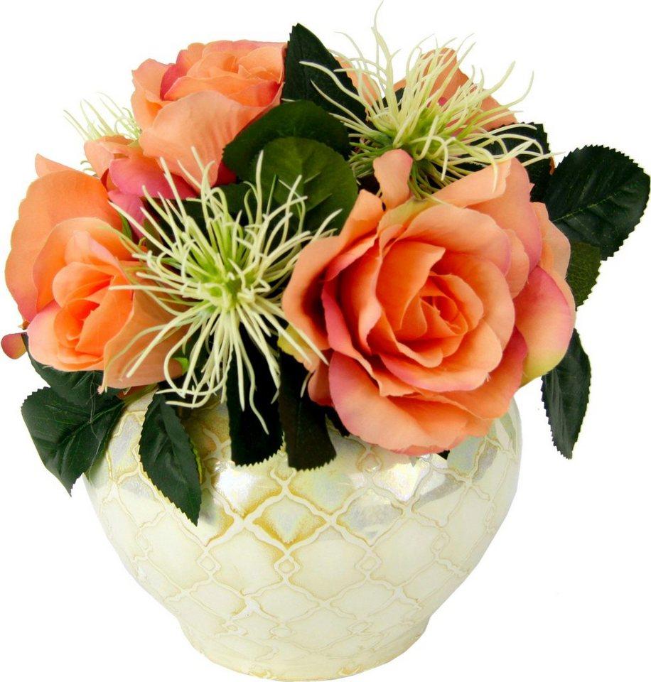 kunstblume rosen protea in vase h he 25 cm otto. Black Bedroom Furniture Sets. Home Design Ideas