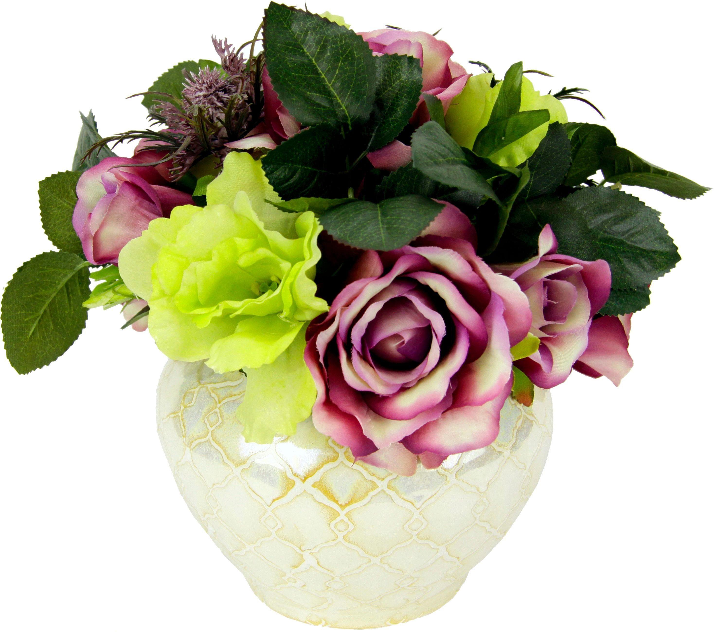 Kunstblume Rosen/Lysianth.in Vase, Höhe 25 cm,