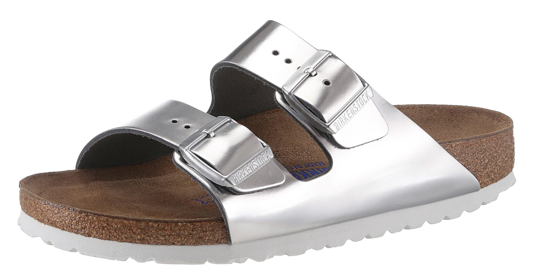 Birkenstock ARIZONA SFB Pantolette, in schmaler Schuhweite, Metallic-Optik, mit Soft-Fußbett online kaufen  silberfarben