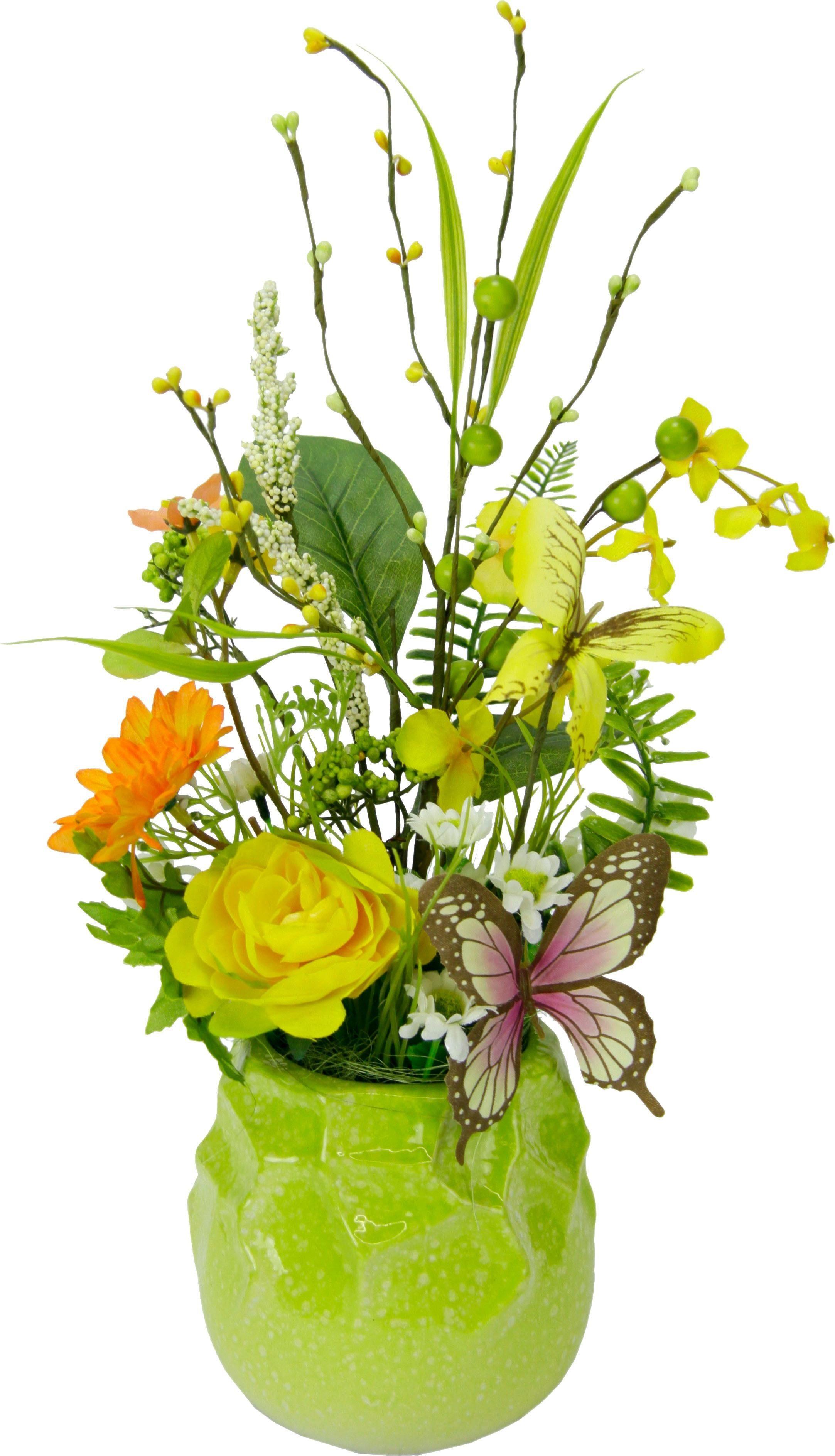 Kunstblume Blüten/Schmetterlingsdeko im Topf