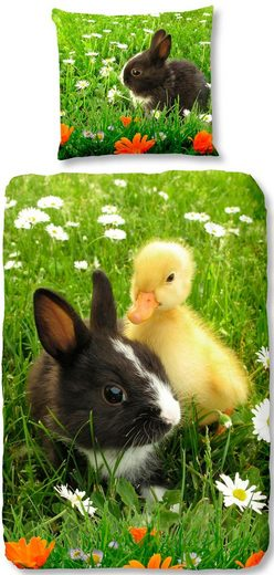 Kinderbettwäsche »Spring«, good morning, mit Ente & Hase