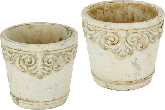 Home affaire Übertopf (Set, 2 Stück), Keramikübertopf mit Ornamenten