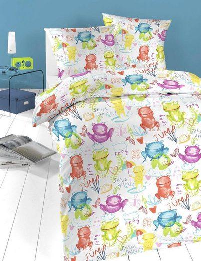 Kinderbettwäsche »Froschi«, Schlafgut, mit niedlichen Frosch-Motiv