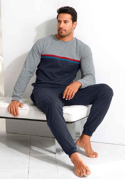 le jogger® Pyjama in langer Form mit kontrastfarbenen Streifen