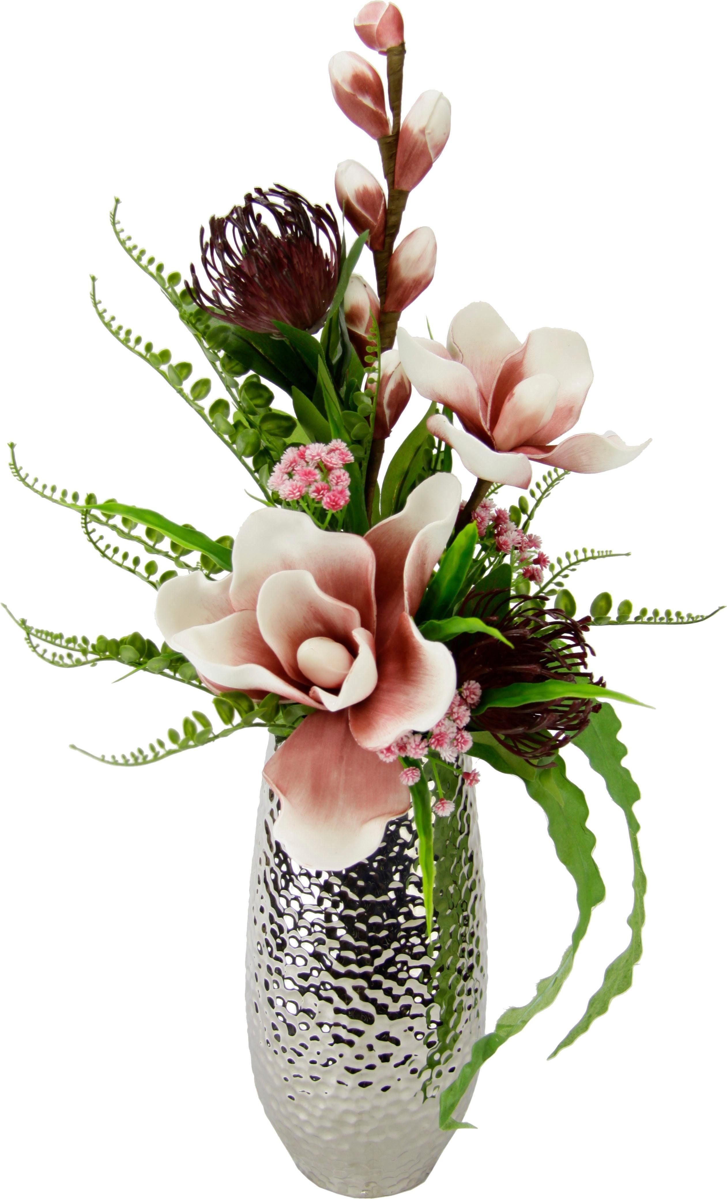 Kunstblume Soft-Magnolien-Gesteck in Vase