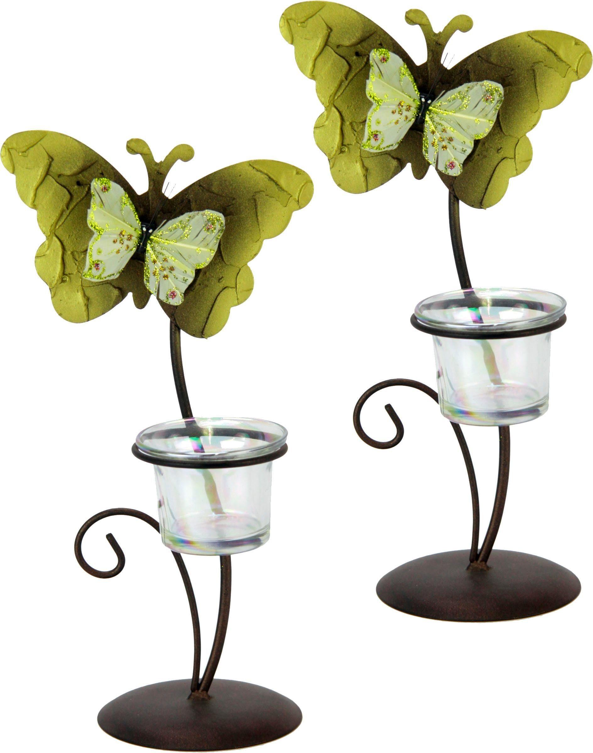 Home Affaire Metall-Teelichthalter mit Schmetterlingsdekoration (2er Set)