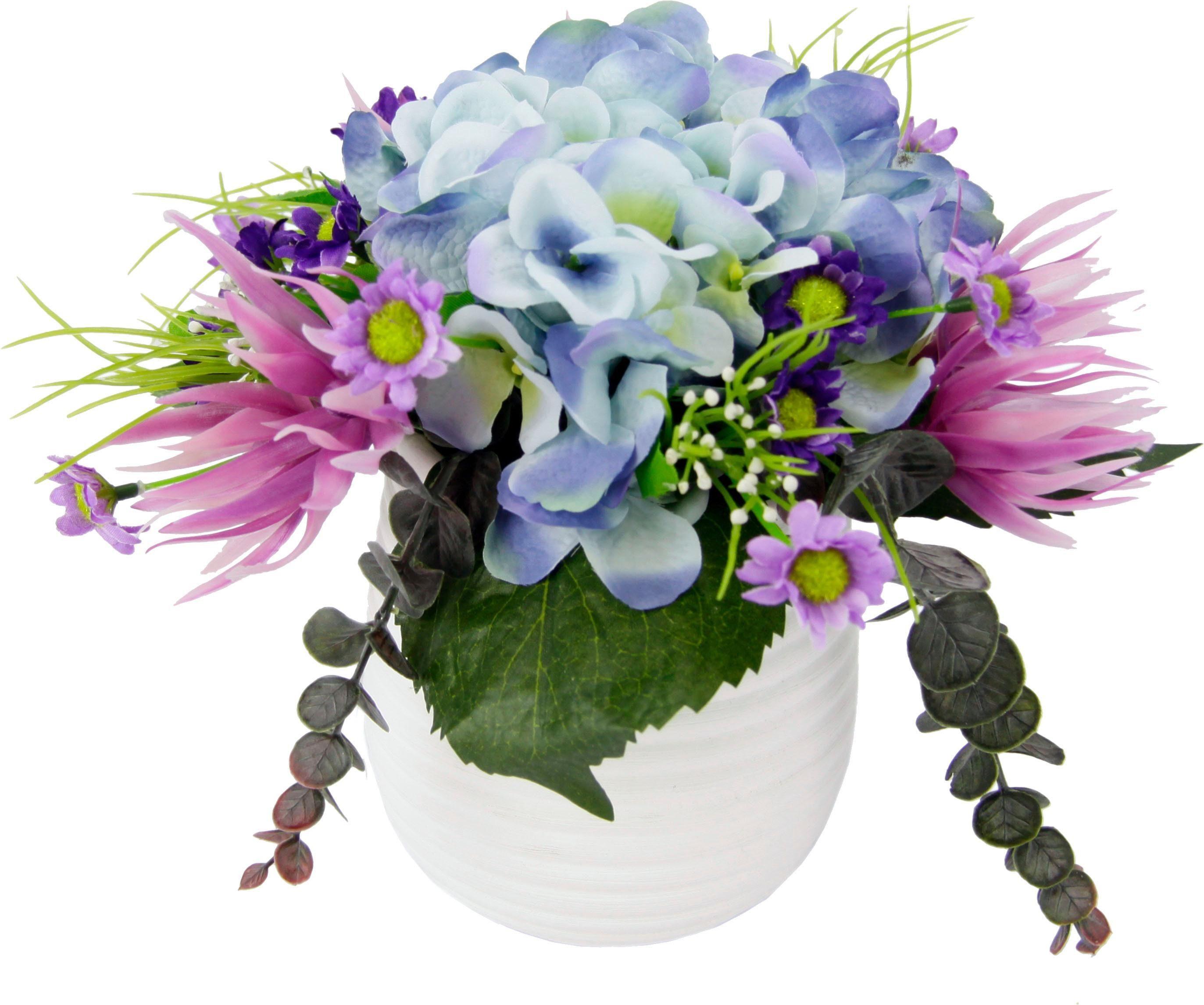 Kunstblume Hortensie im Topf