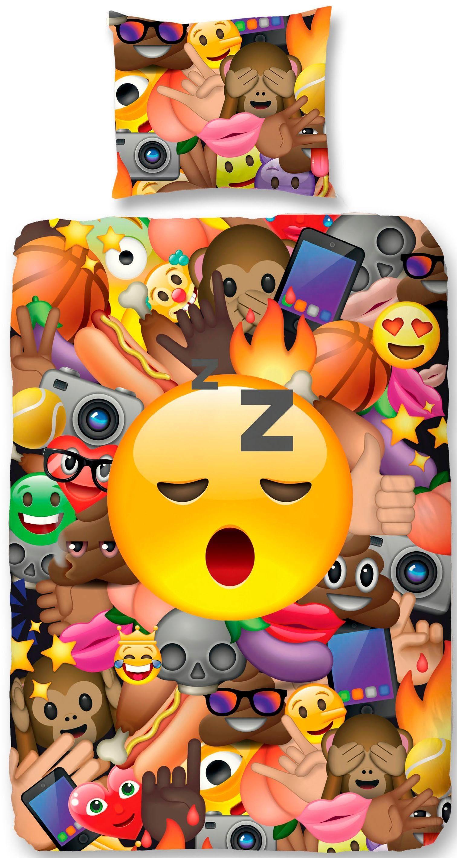 Kinderbettwäsche »Laugh«, good morning, mit Emoji Motiven
