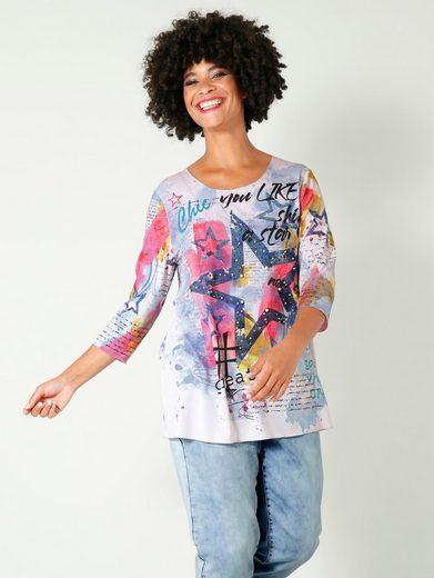 Angel of Style by HAPPYsize 3/4-Arm-Shirt mit Dekoperlen und Steinchen