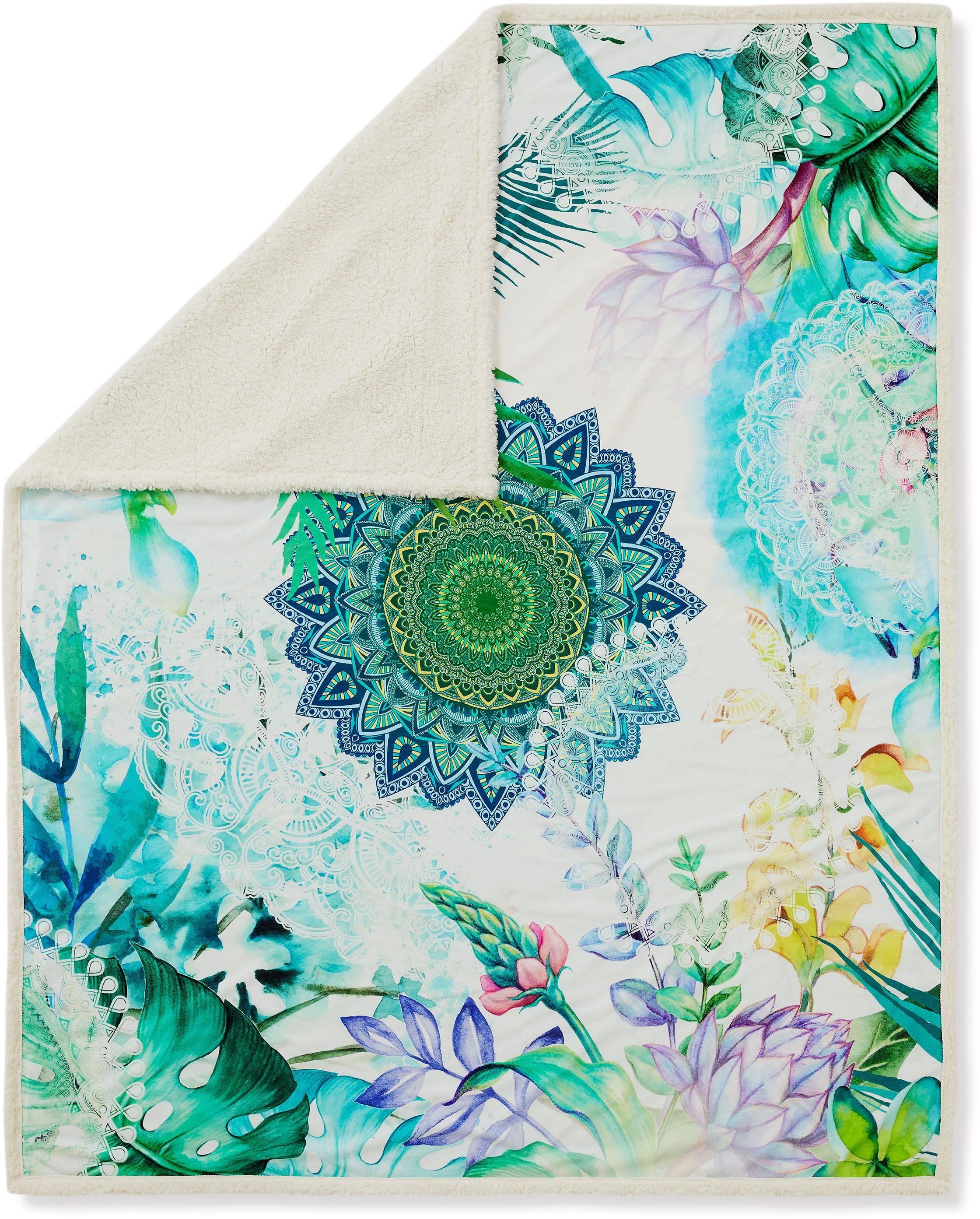 Wohndecke »Viridi«, hip, mit Mandala und Blättern versehen