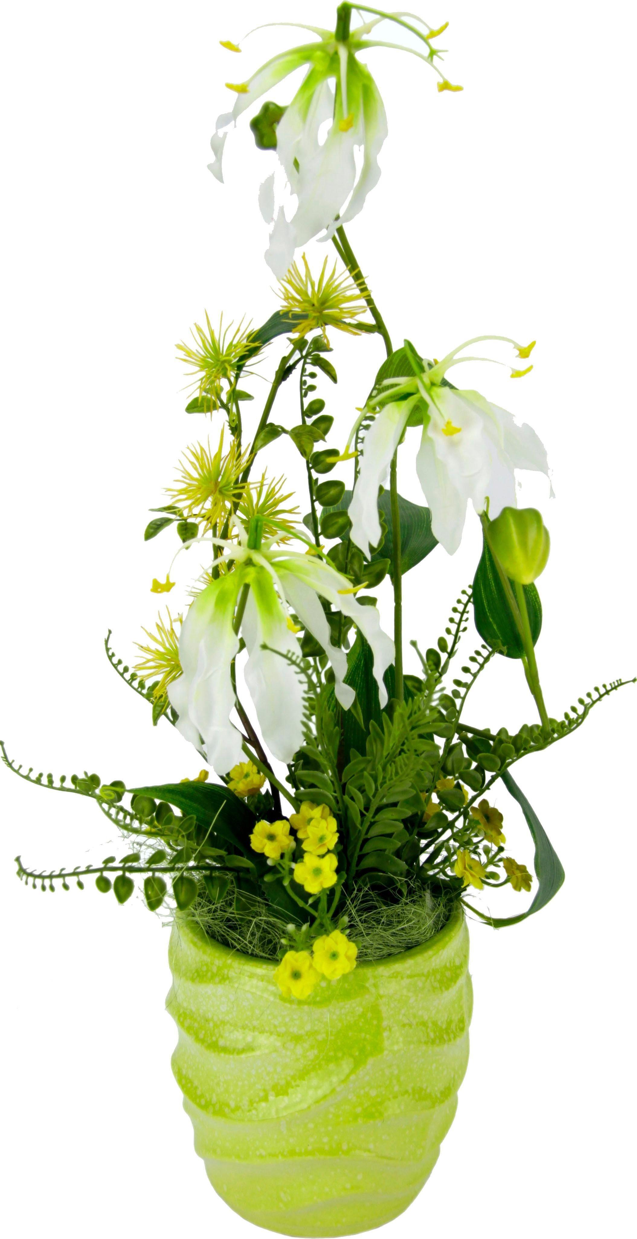 Kunstblume Gesteck Gloriosa im Topf, Höhe 53 cm,